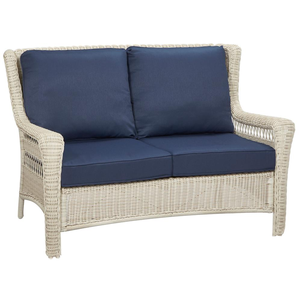 Hampton Bay Park Meadows Off White Wicker Outdoor Loveseat With Midnight Cushion 65 21453W The