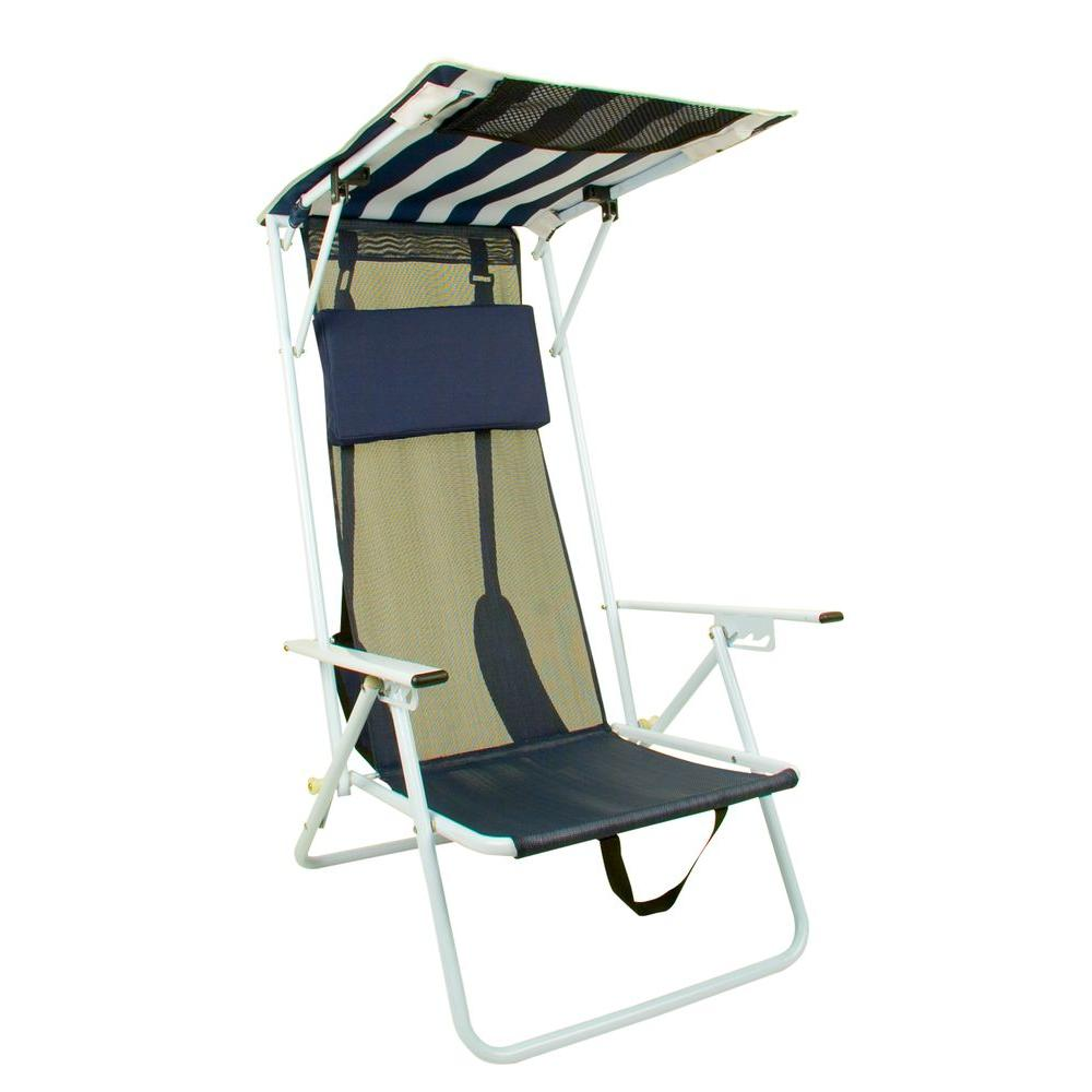 beach chairs with shade how much does it cost to reupholster a recliner chair quik navy blue stripe patio folding 142038 the