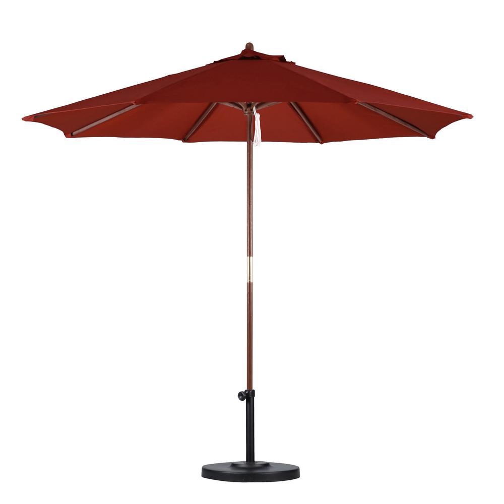 Hampton Bay 9 ft Wood Patio Umbrella in Brown9939