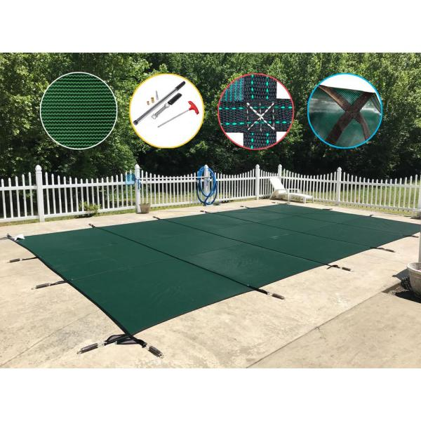 Waterwarden 12 Ft. X 24 Rectangle Green Mesh In-ground Safety Pool Cover-scmg1224 - Home