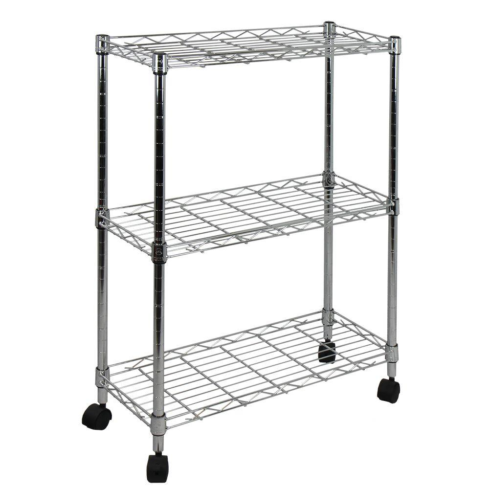 Oceanstar 9 in. W 3-Tier Shelving All-Purpose Utility Cart