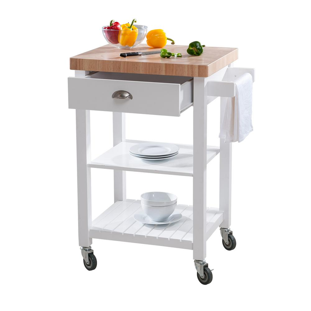 Hampton Bay Bedford White Kitchen Cart With Butcher Block