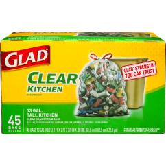 Glad Kitchen Bags Ceiling Light Fixtures 13 Gal Recycling Tall Drawstring Clear 45 Count