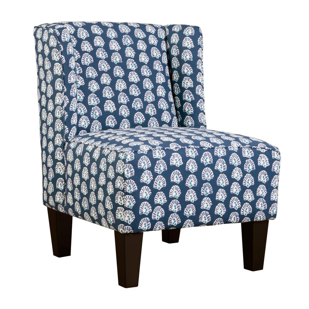 Blue Slipper Chair Charlie Lapis Blue Winged Upholstered Slipper Chair