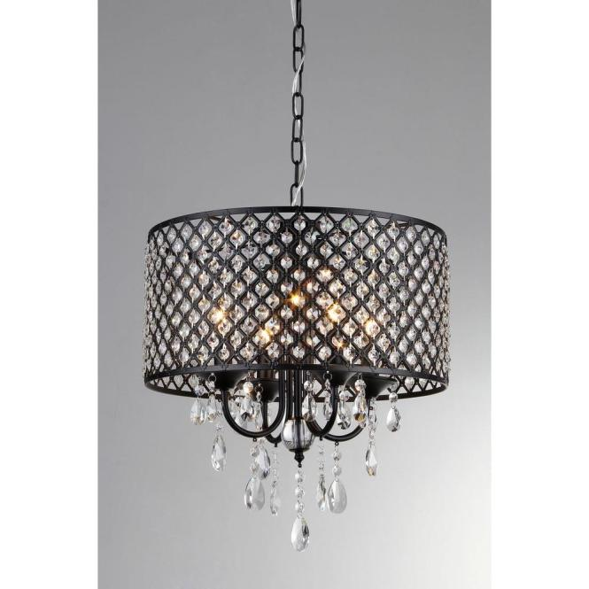 Black Indoor Drum Shade Crystal Chandelier With Su71394b The Home Depot
