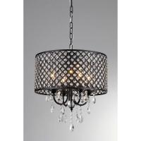 Monet 17 in. Black Indoor Drum Shade Crystal Chandelier ...