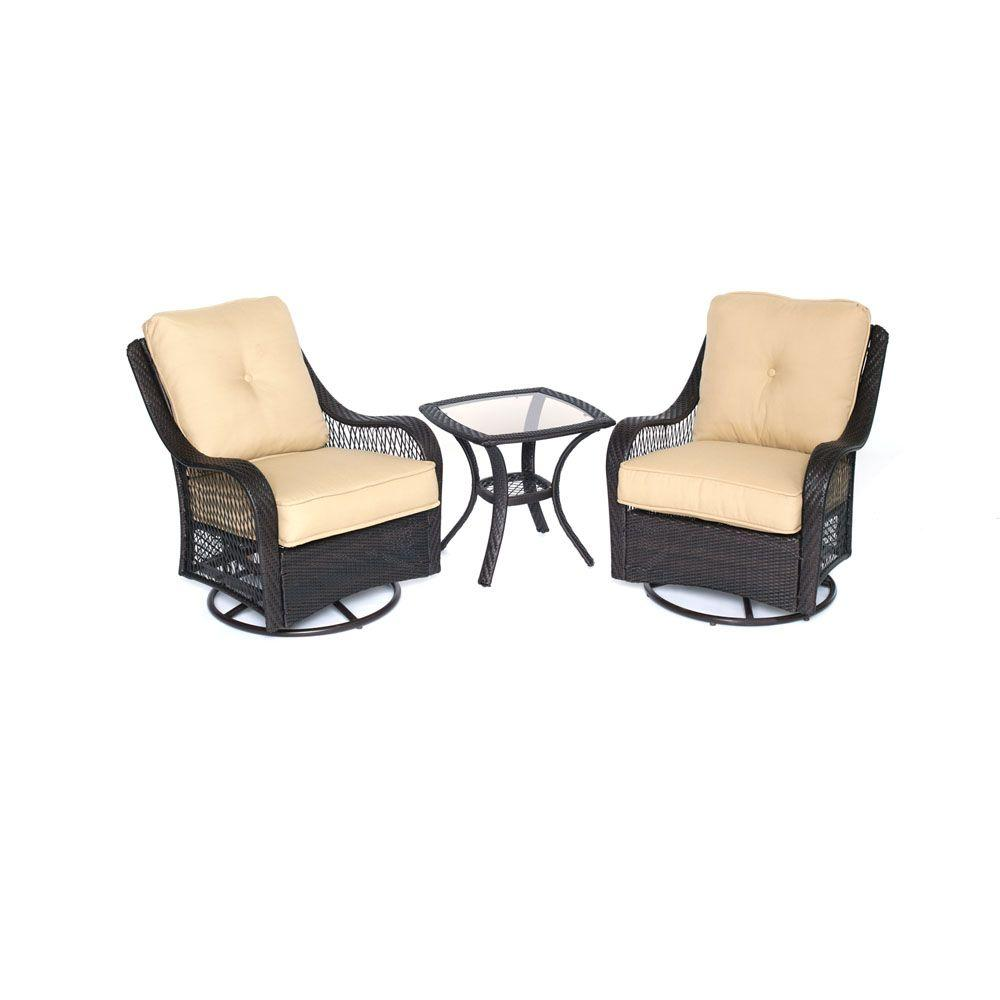 Swivel Rocking Chairs Hanover Orleans 3 Piece All Weather Wicker Patio Swivel Rocking Chat Set With Sahara Sand Cushions
