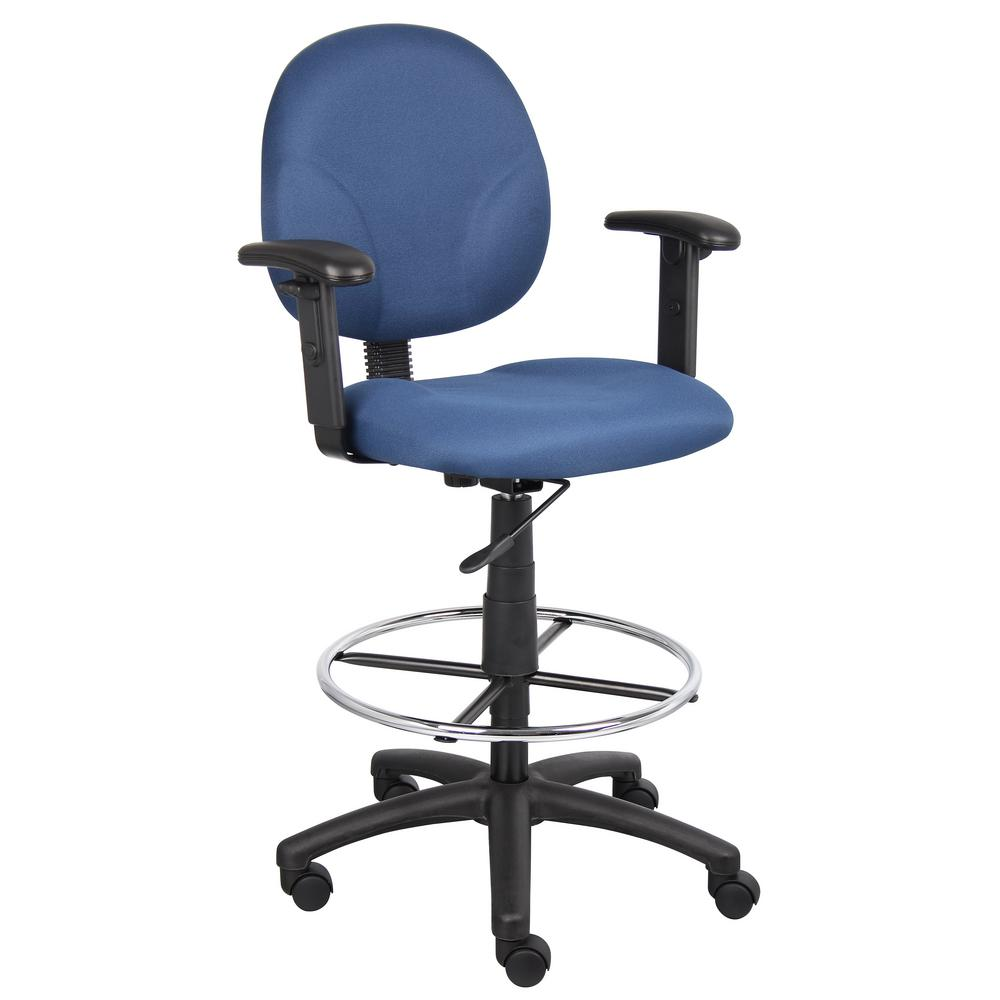 How To Adjust Office Chair Blue Fabric Drafting Stools With Adjust Arms And Foot Ring