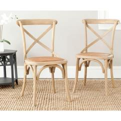 X Back Chairs Baby Boppy Chair Safavieh Franklin Weathered Oak Rattan Dining Set Of 2