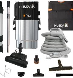 husky central vacuum flex with accessories and electric power head [ 1000 x 1000 Pixel ]