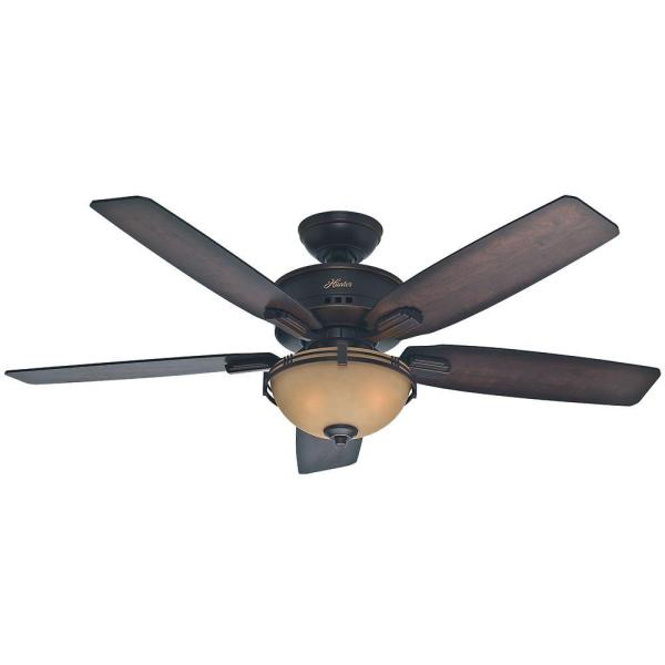 Hunter Morris County 52 In. Indoor Onyx Bengal Bronze Ceiling Fan With Light-53260 - Home Depot