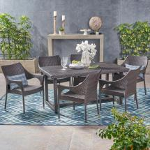 Noble House Kora Multi-brown 7-piece Wicker Outdoor Dining