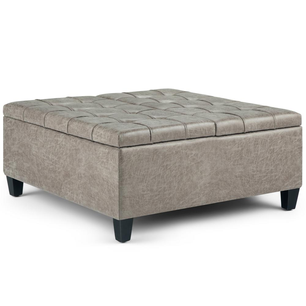 simpli home harrison 36 in traditional square storage ottoman in distressed grey taupe faux air leather axcot 265 dtp the home depot