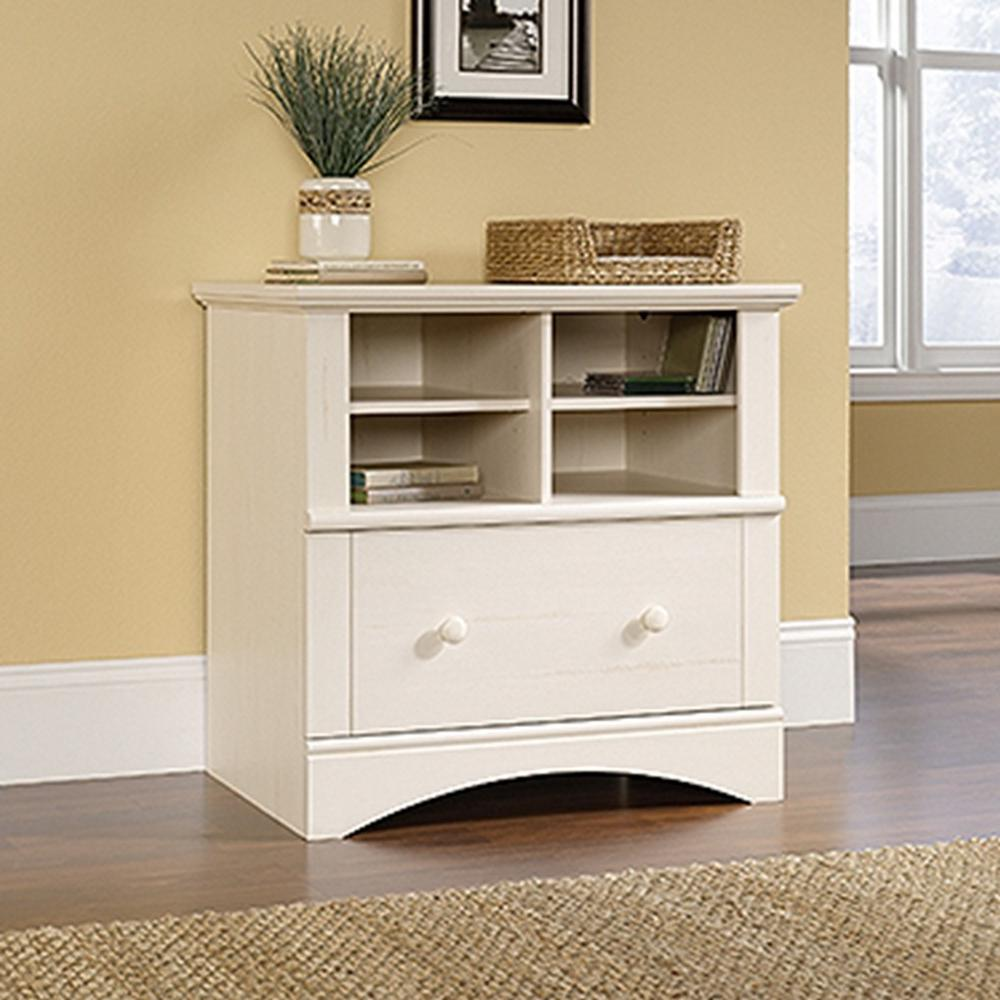 SAUDER Harbor View Antiqued White File Cabinet158002