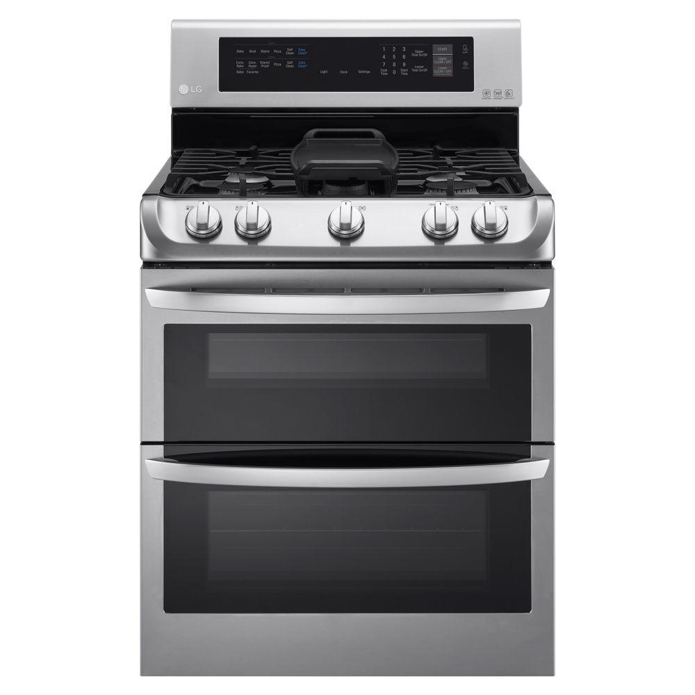 hight resolution of double oven gas range with probake convection oven