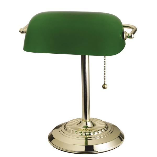 Tensor 14.5 In. Brass Banker' Desk Lamp With Green Shade