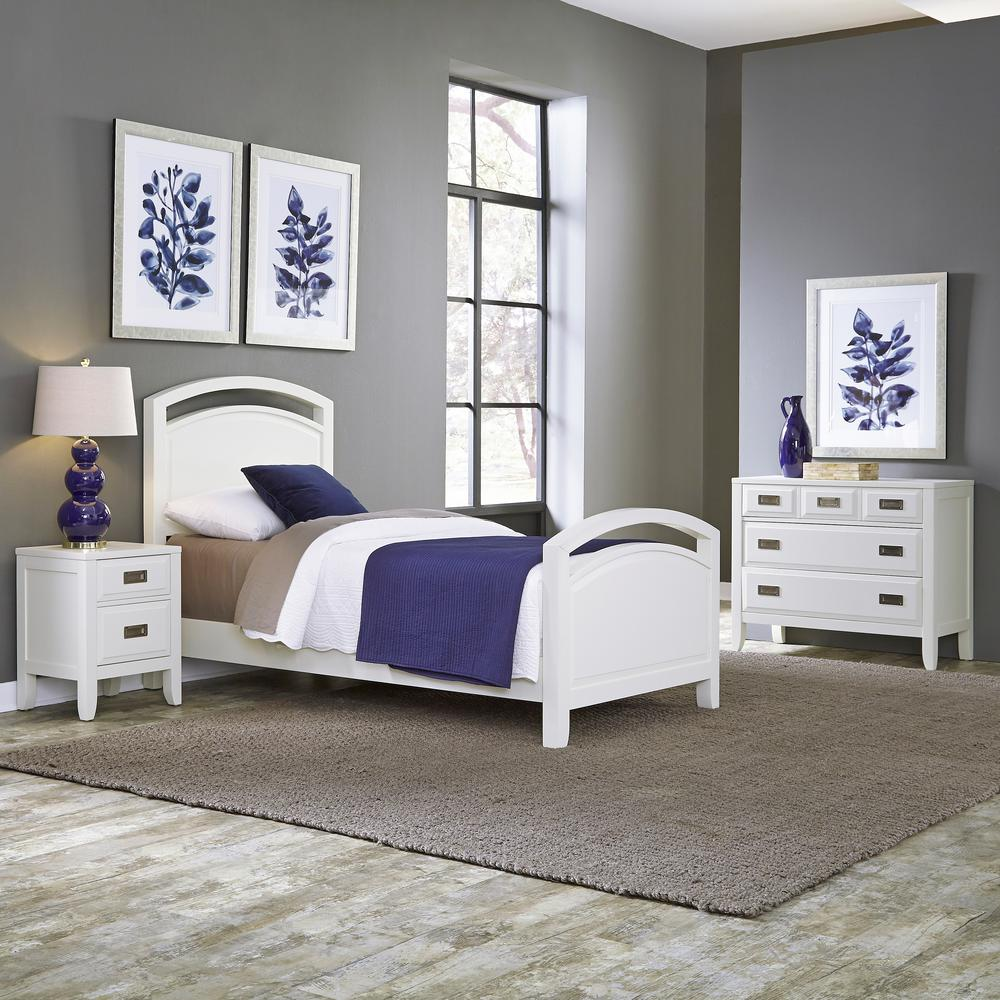 Home Styles Newport 3Piece White Twin Bedroom Set5515