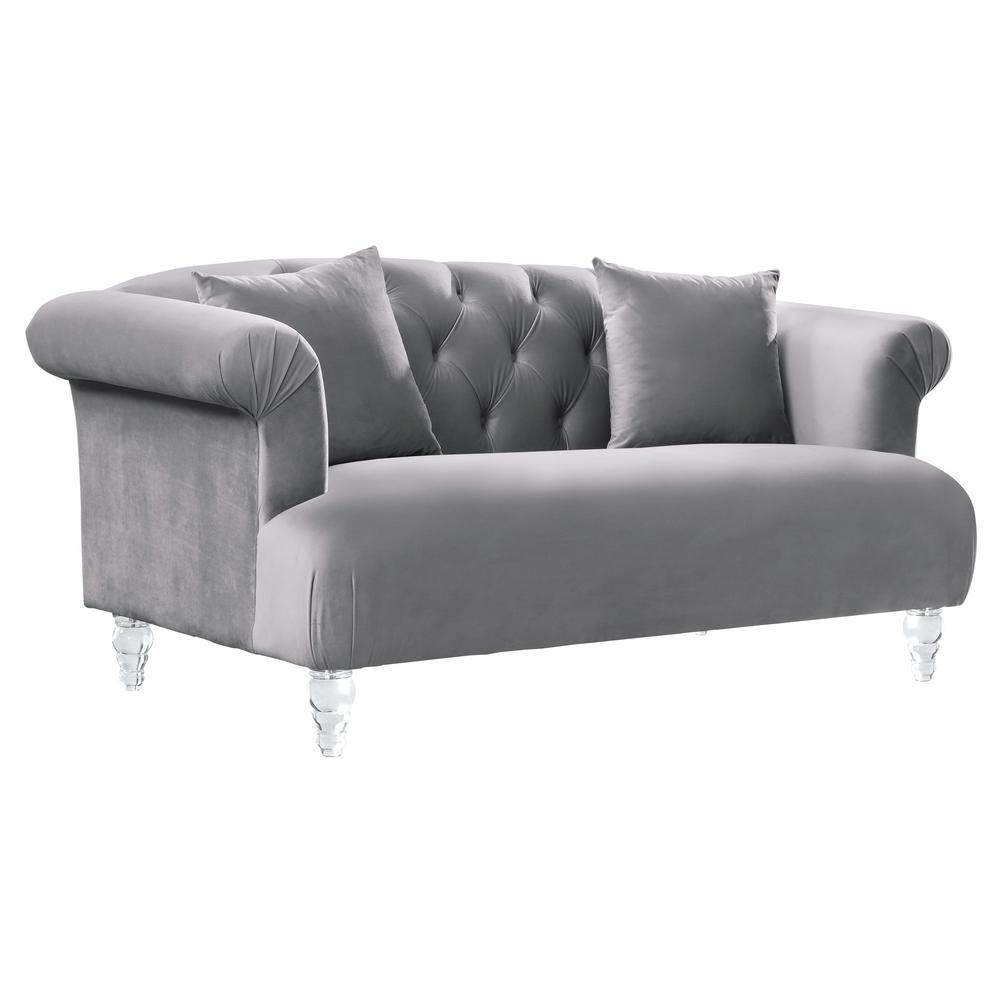 contemporary sofas and loveseats sofa bed york pa armen living elegance grey velvet loveseat with acrylic legs