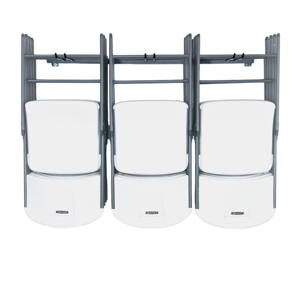 folding chair storage hooks game room monkey bars wall mounted steel organization 15 rack