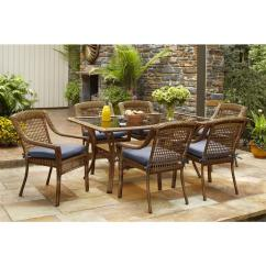 Cushions For Wicker Chairs Banquet Chair Covers On Craigslist Hampton Bay Spring Haven Brown 7 Piece All Weather Outdoor Patio Dining Set With Sky Blue