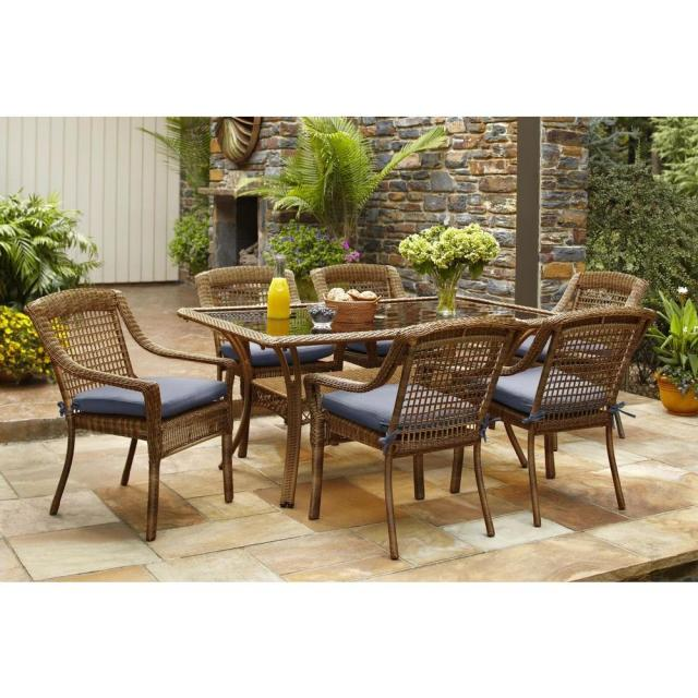 hampton bay spring haven brown 7-piece all-weather wicker outdoor