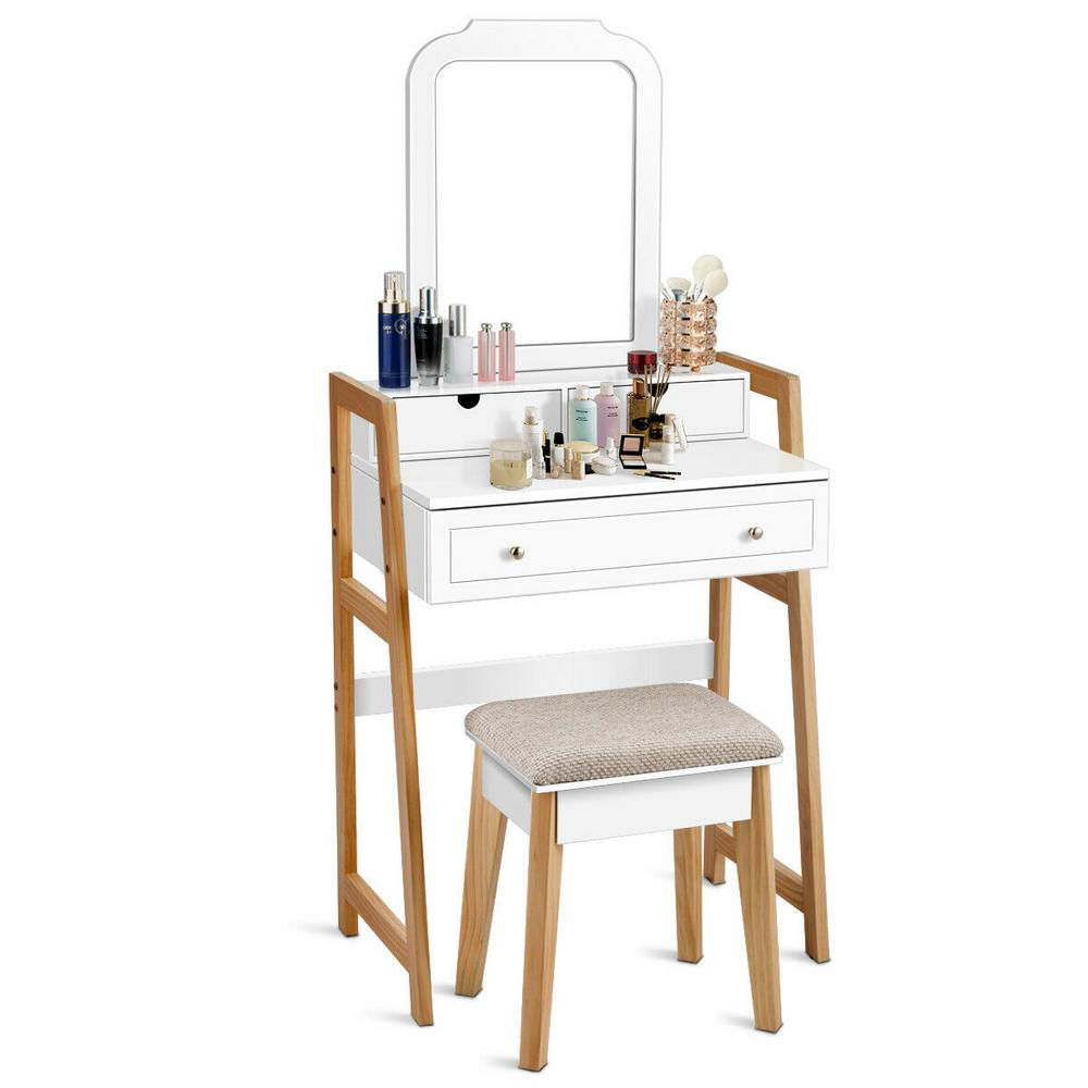 costway 2 piece white makeup vanity table set with 3 drawers mirror dressing table and cushioned stool set hw61699 the home depot