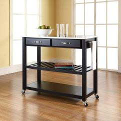 Stainless Steel Kitchen Cart Cabinets Design With Islands Crosley Black Top Kf30052bk The