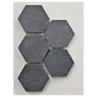 Merola Tile Crag Hexagon Black Slate Mosaic Tile - 3 in. x ...