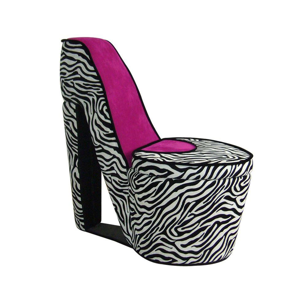 pink high heel chair white leather dining chairs ore international zebra storage slipper hb4258r the