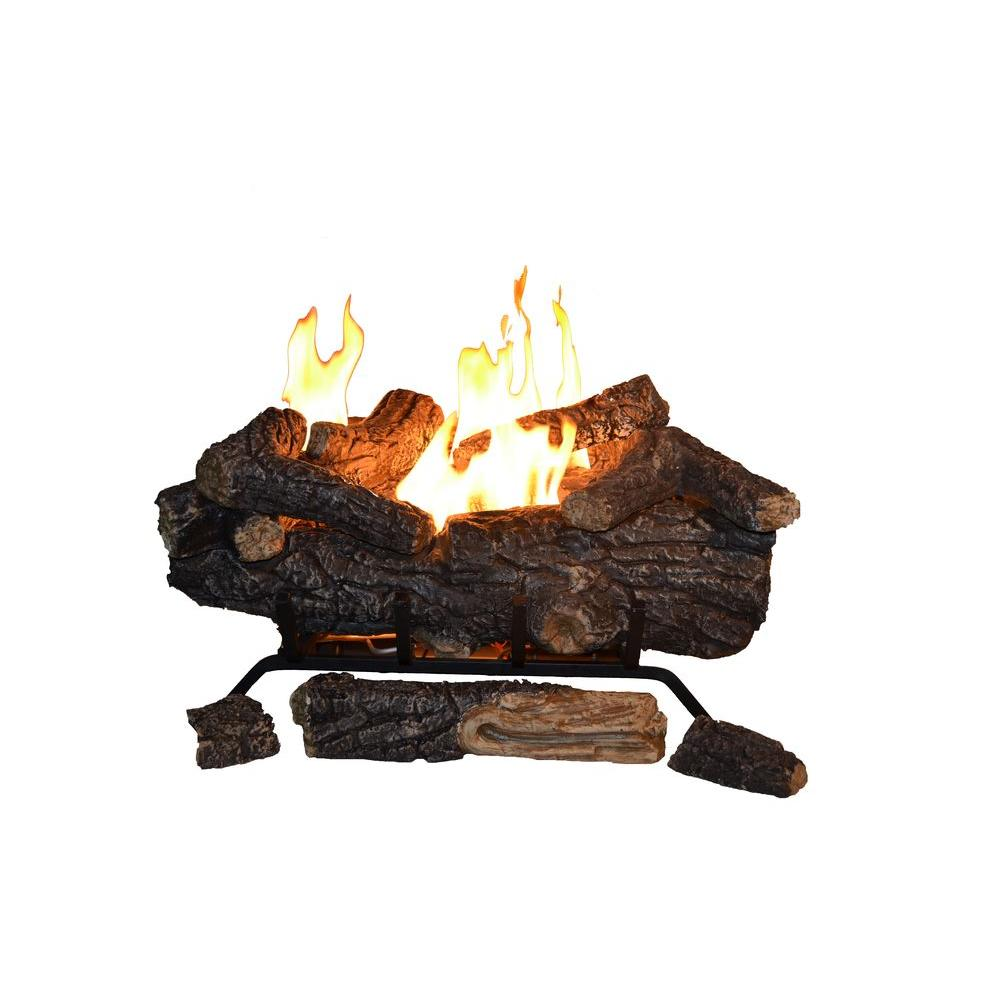 Emberglow Burnt River Oak 18 in Vented Dual Burner Natural Gas Fireplace LogsBRO18NG  The