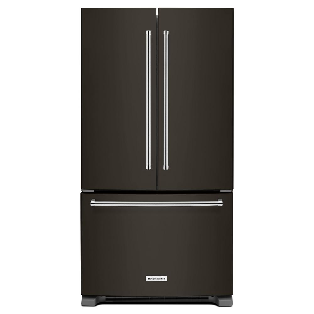 kitchen aid appliance cheap curtains kitchenaid 20 cu ft french door refrigerator in black stainless counter depth