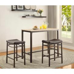 Kitchen Bar Table Sets Cabinets Design With Islands Linon Home Decor Betty 3 Piece Rustic Brown Set