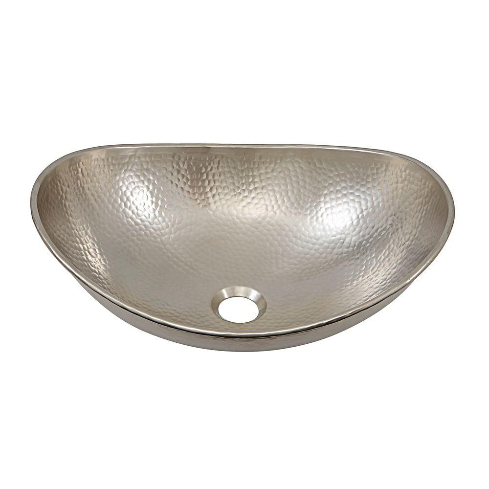 Above Counter Vessel Sink Bowl 19in Handcrafted Hammered Nickel Bathroom Basin 710882160777  eBay