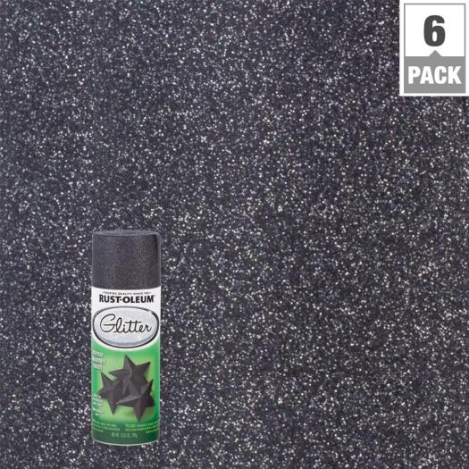 Midnight Black Glitter Spray Paint 6 Pack