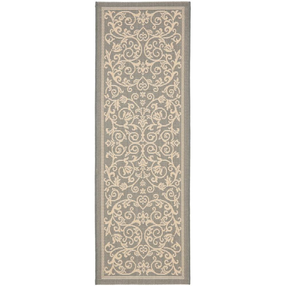Safavieh Courtyard GrayNatural 2 ft x 10 ft Indoor