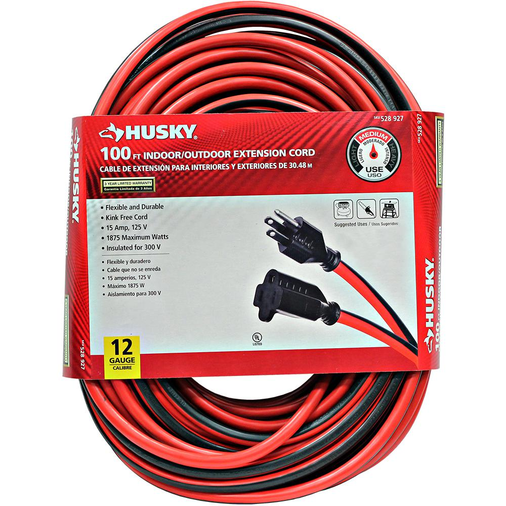 Husky 100 Ft 12 3 Indoor Outdoor Extension Cord Red And Black 647 123100h31 The Home Depot