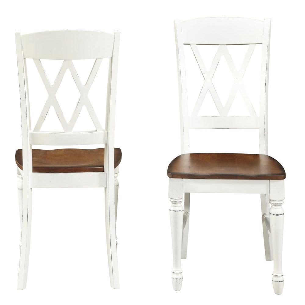 double x back chairs horse saddle desk chair home styles rubbed white wood dining set of 2