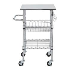 Stainless Kitchen Cart Mobile Island Stylewell Gatefield Chrome Small With Steel Top