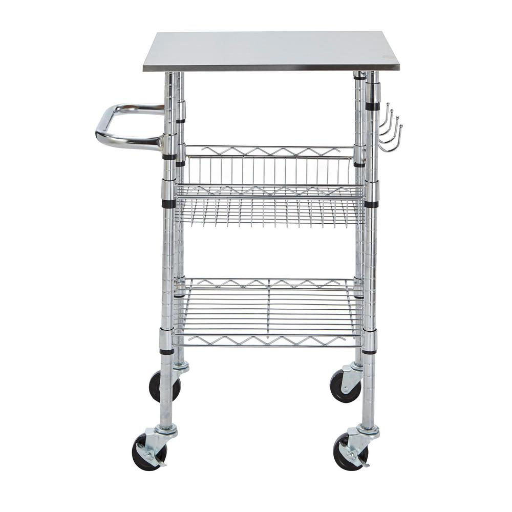 small kitchen carts rubber mat stylewell gatefield chrome cart with stainless steel top