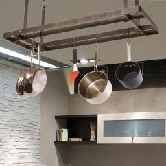 Pot Racks For Kitchen Backsplash Tiles Enclume Storage Organization The Home Depot Handcrafted All Bars Ceiling Rack With 12 Hooks Hammered Steel