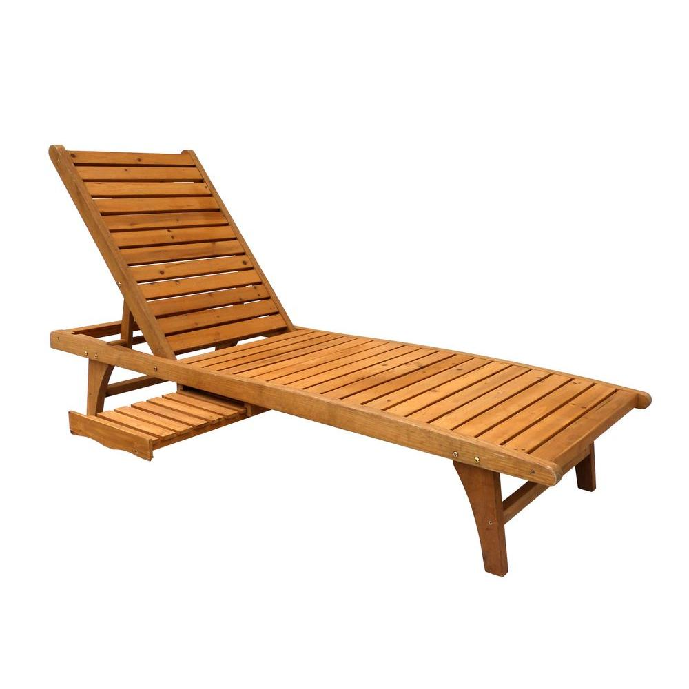 Leisure Season Patio Lounge Chaise with PullOut Tray