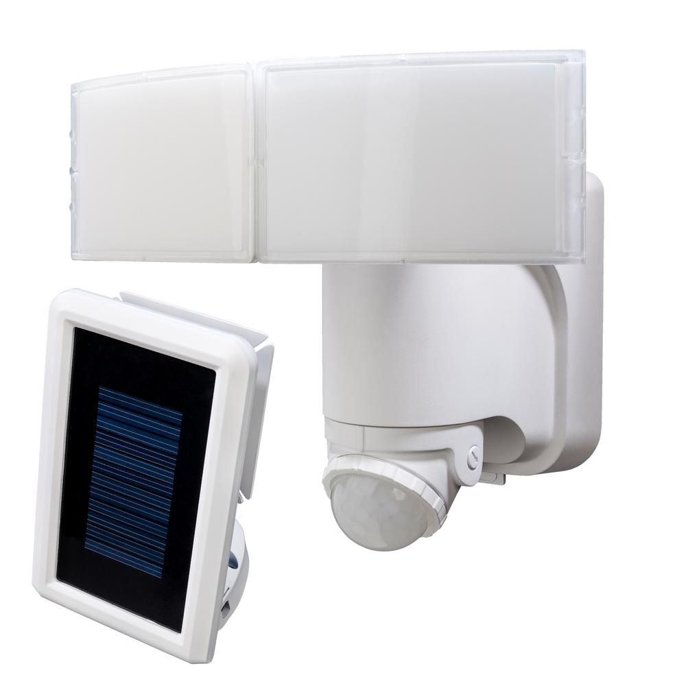 hight resolution of 180 degree white solar powered motion led security light with battery backup