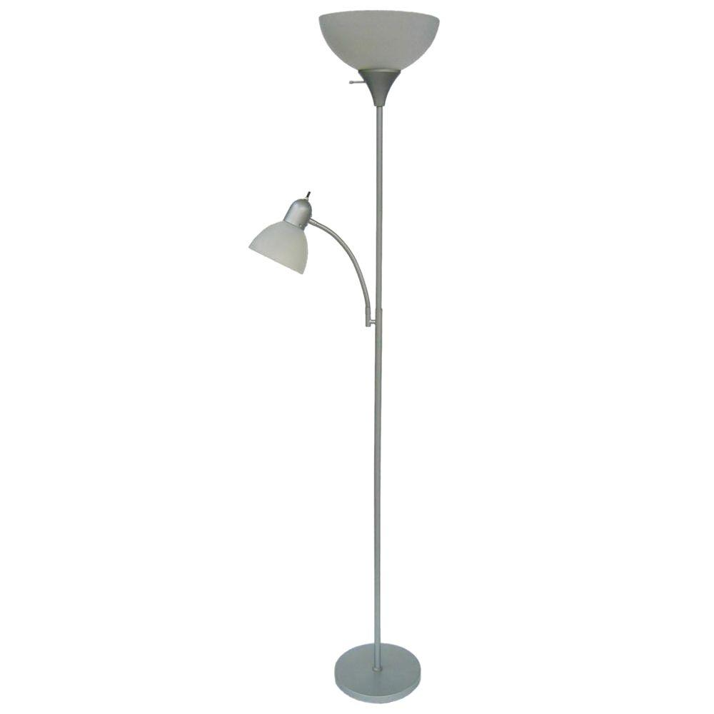 Hampton Bay 715 in Silver Floor Lamp with 2 Frosted