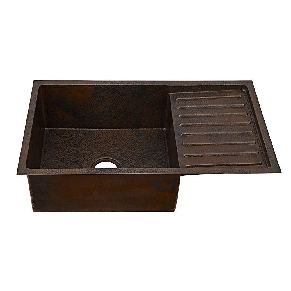 kitchen sinks with drain boards commercial sinkology klee undermount handmade solid copper sink 33 in 0 hole board single bowl