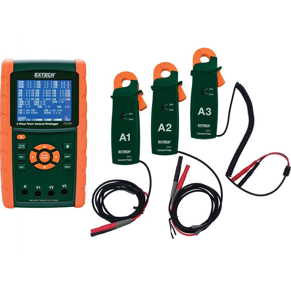 hight resolution of extech instruments 200a 3 phase power analyzer and data logger kit with nist