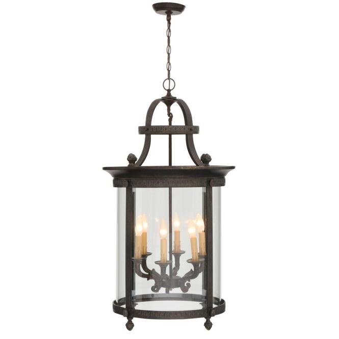 World Imports Chatham Collection 6 Light French Bronze Outdoor Hanging Mount Chandelier Lantern
