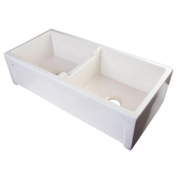 Alfi Brand Arched Farmhouse Apron Fireclay 39 In. Double Basin Kitchen Sink In Biscuit