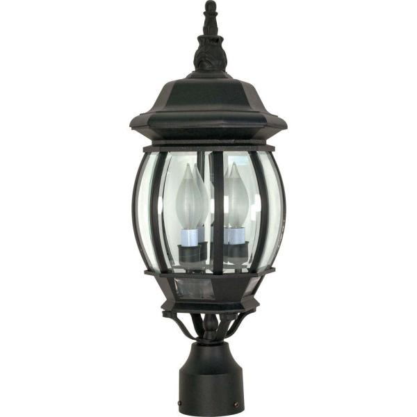 Glomar 3-light Outdoor Textured Black Post Lantern-hd-899 - Home Depot