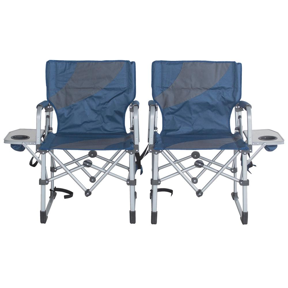 Folding Camp Chair With Side Table Sportsman Folding Camping Chairs With Side Table Set Of 2
