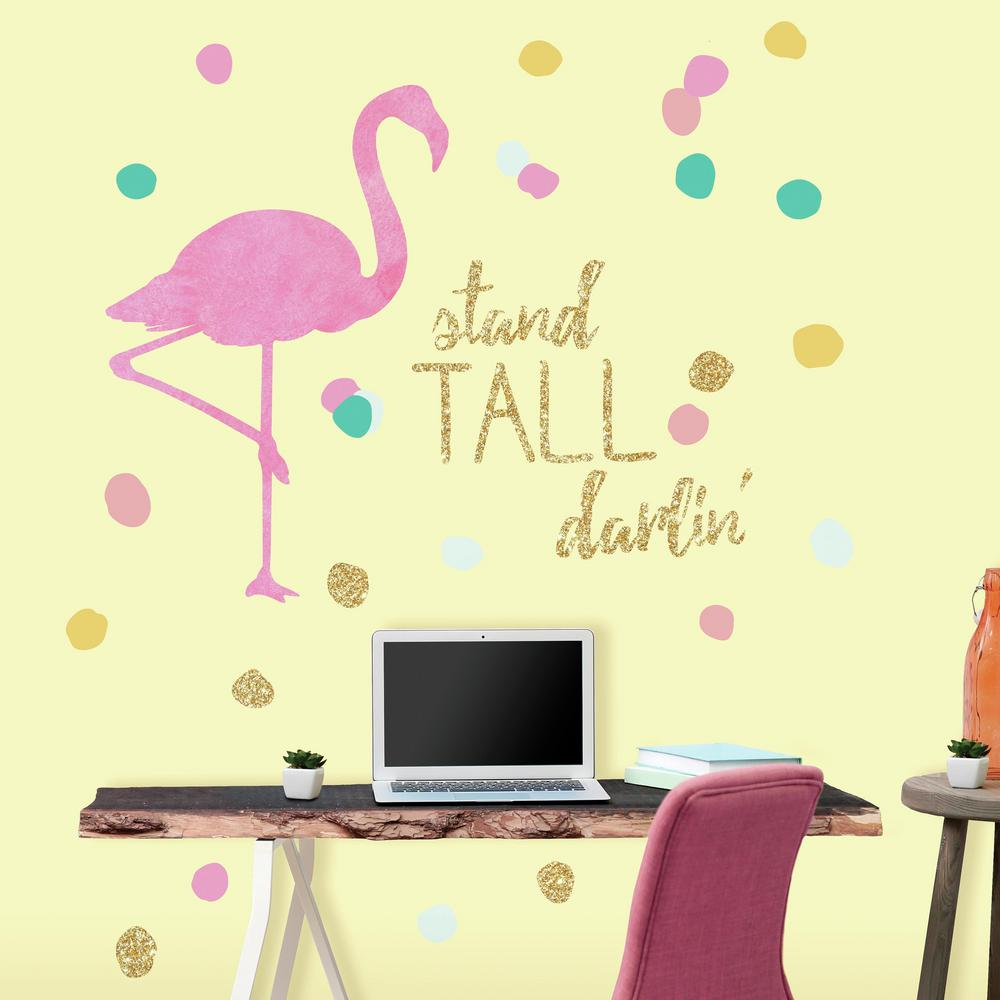 Roommates In X In Stand Tall Flamingo Piece Peel And Stick ...